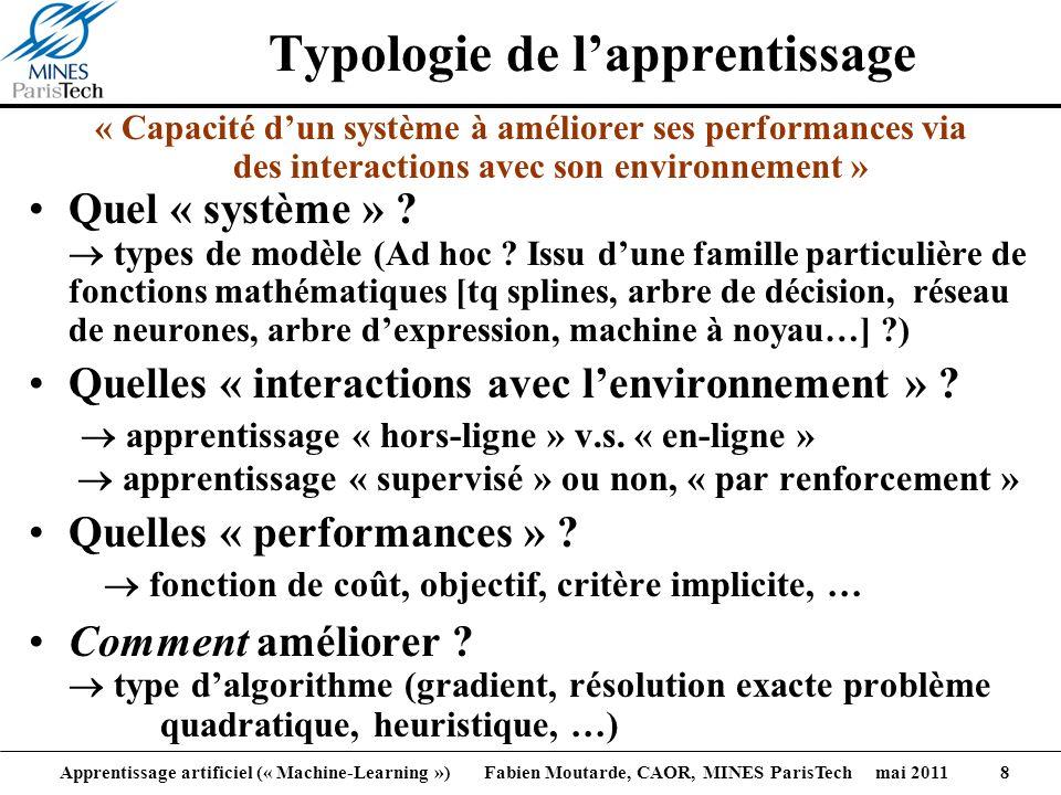 Apprentissage artificiel (« Machine-Learning ») Fabien Moutarde, CAOR, MINES ParisTech mai 2011 8 Typologie de lapprentissage « Capacité dun système à