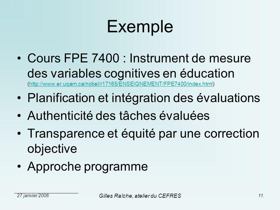 27 janvier 2006 Gilles Raîche, atelier du CEFRES 11. Exemple Cours FPE 7400 : Instrument de mesure des variables cognitives en éducation (http://www.e