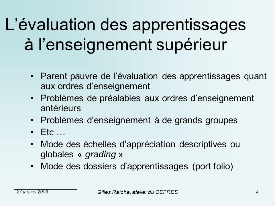 27 janvier 2006 Gilles Raîche, atelier du CEFRES 4. Lévaluation des apprentissages à lenseignement supérieur Parent pauvre de lévaluation des apprenti