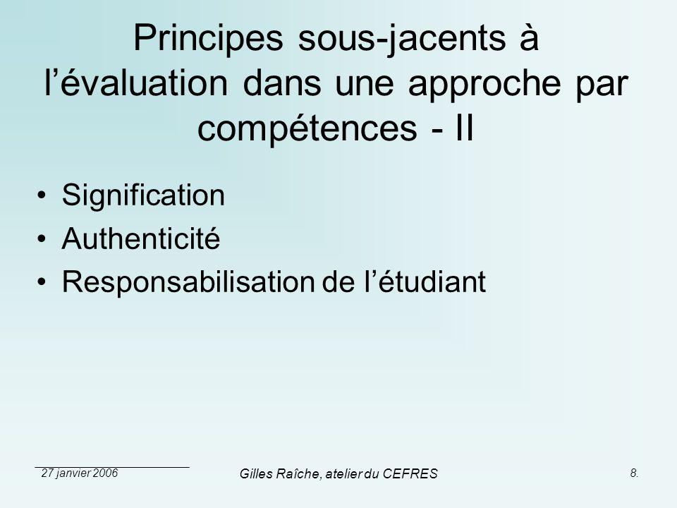27 janvier 2006 Gilles Raîche, atelier du CEFRES 8. Principes sous-jacents à lévaluation dans une approche par compétences - II Signification Authenti