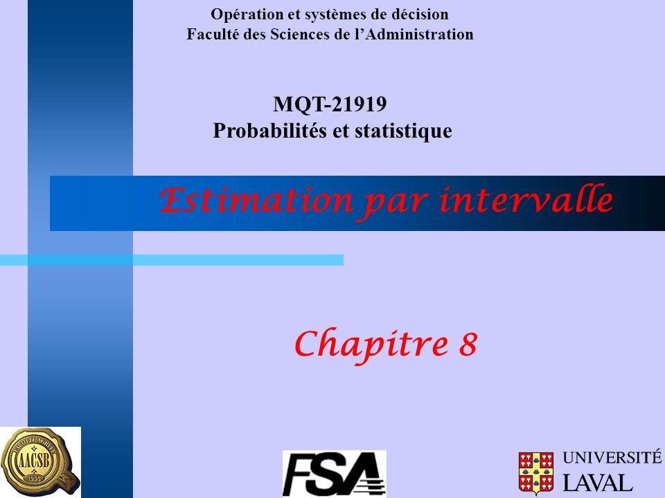 Opération et systèmes de décision Faculté des Sciences de lAdministration MQT-21919 Probabilités et statistique Estimation par intervalle Chapitre 8