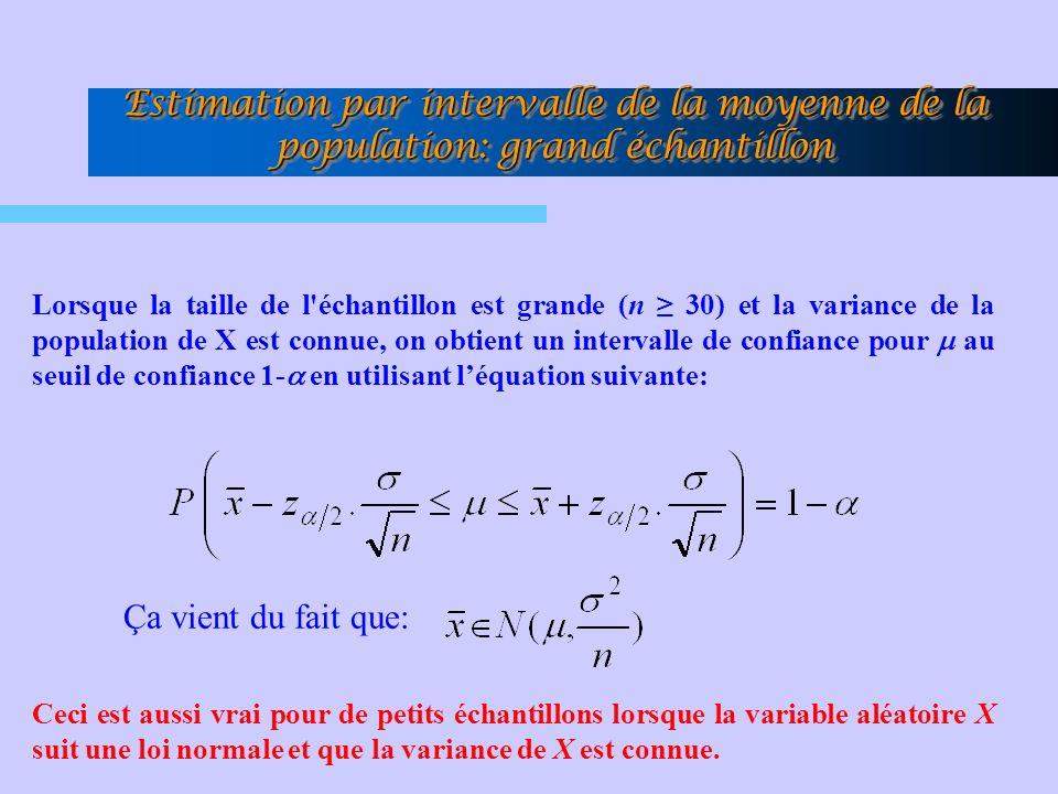 Lorsque la taille de l'échantillon est grande (n 30) et la variance de la population de X est connue, on obtient un intervalle de confiance pour au se