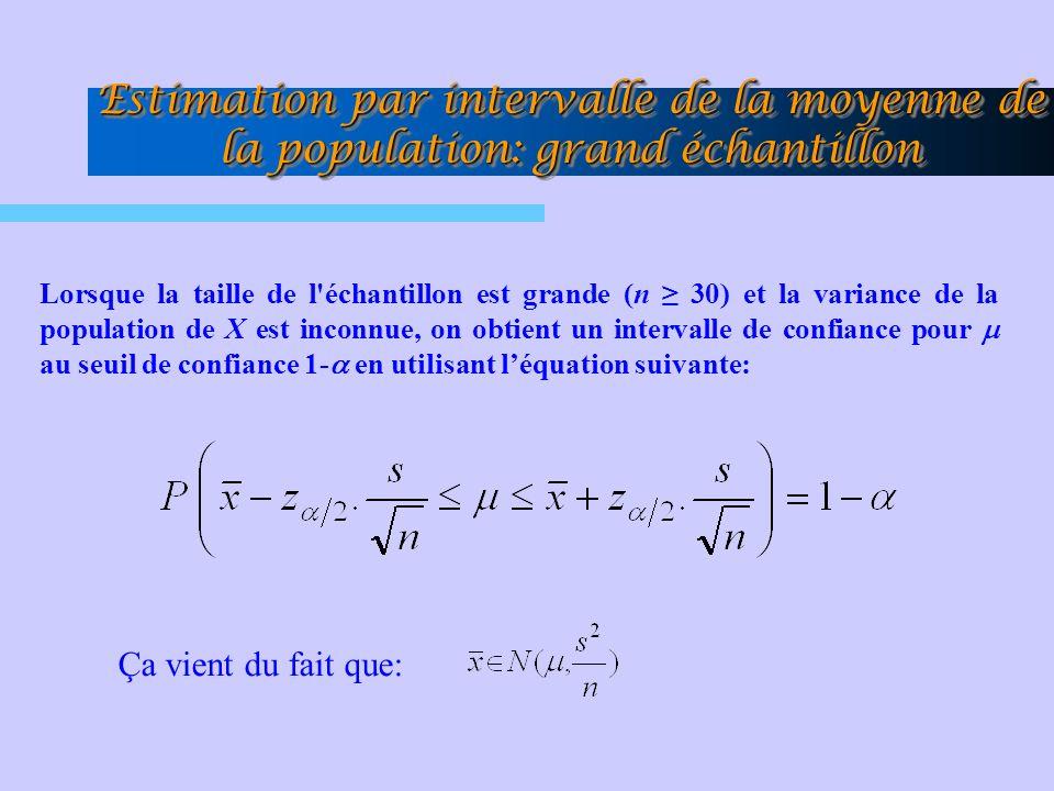Lorsque la taille de l'échantillon est grande (n 30) et la variance de la population de X est inconnue, on obtient un intervalle de confiance pour au