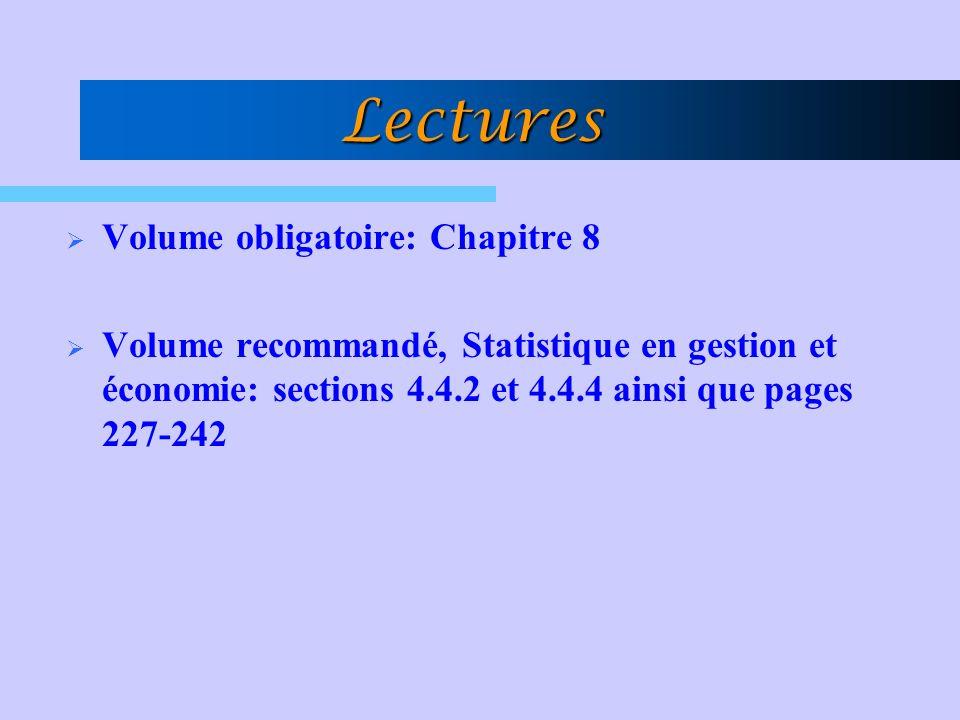 Lectures Volume obligatoire: Chapitre 8 Volume recommandé, Statistique en gestion et économie: sections 4.4.2 et 4.4.4 ainsi que pages 227-242