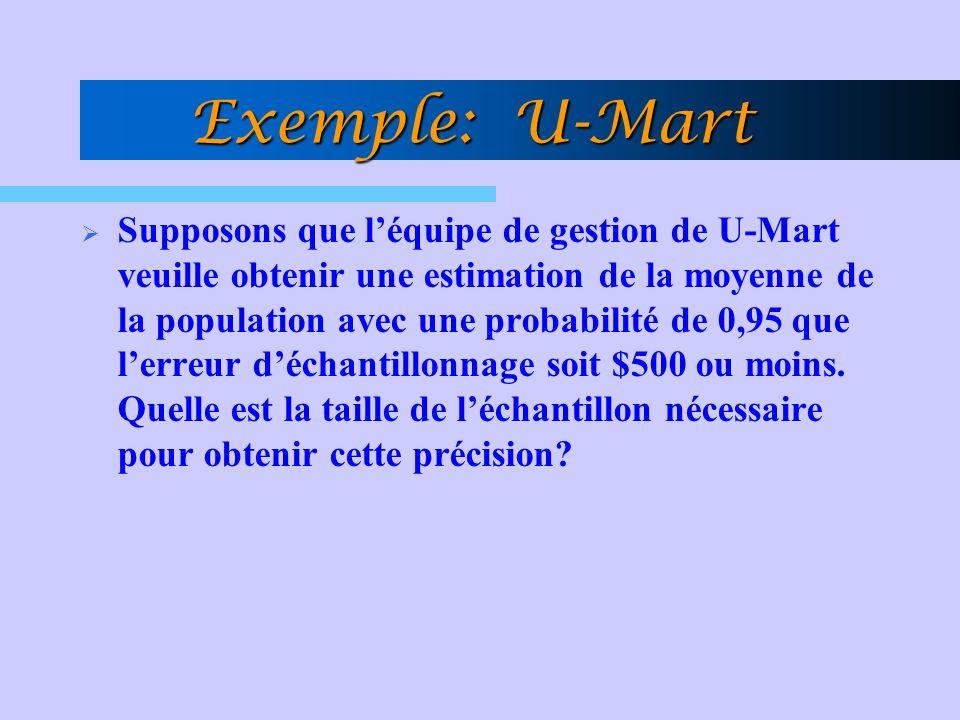 Exemple: U-Mart Supposons que léquipe de gestion de U-Mart veuille obtenir une estimation de la moyenne de la population avec une probabilité de 0,95
