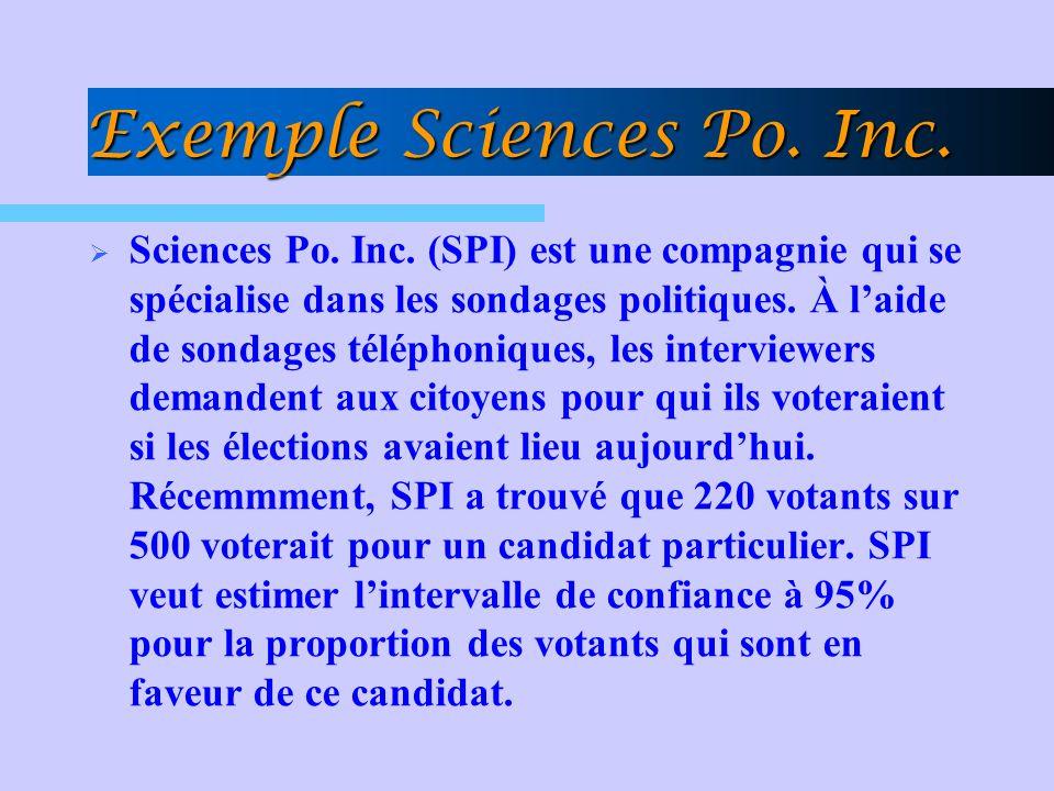 Exemple Sciences Po. Inc. Sciences Po. Inc. (SPI) est une compagnie qui se spécialise dans les sondages politiques. À laide de sondages téléphoniques,