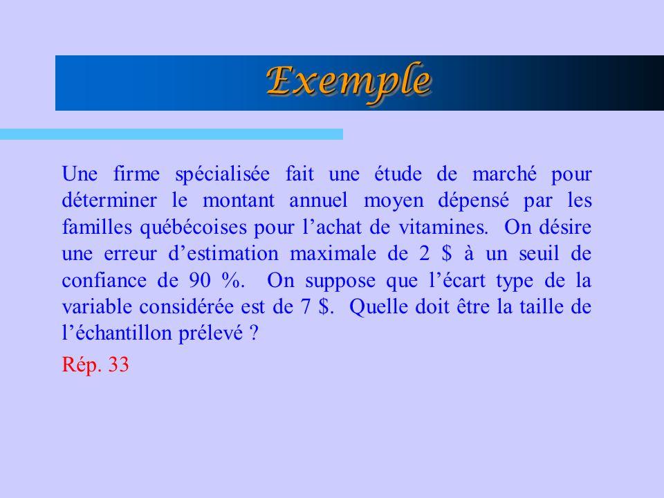 Une firme spécialisée fait une étude de marché pour déterminer le montant annuel moyen dépensé par les familles québécoises pour lachat de vitamines.