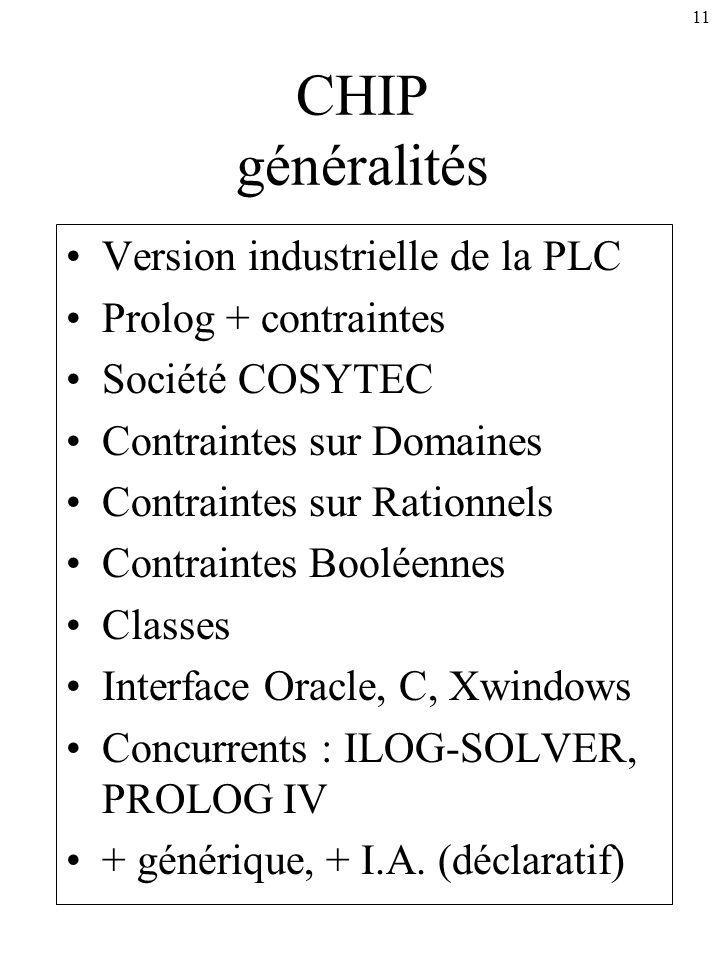 11 CHIP généralités Version industrielle de la PLC Prolog + contraintes Société COSYTEC Contraintes sur Domaines Contraintes sur Rationnels Contrainte