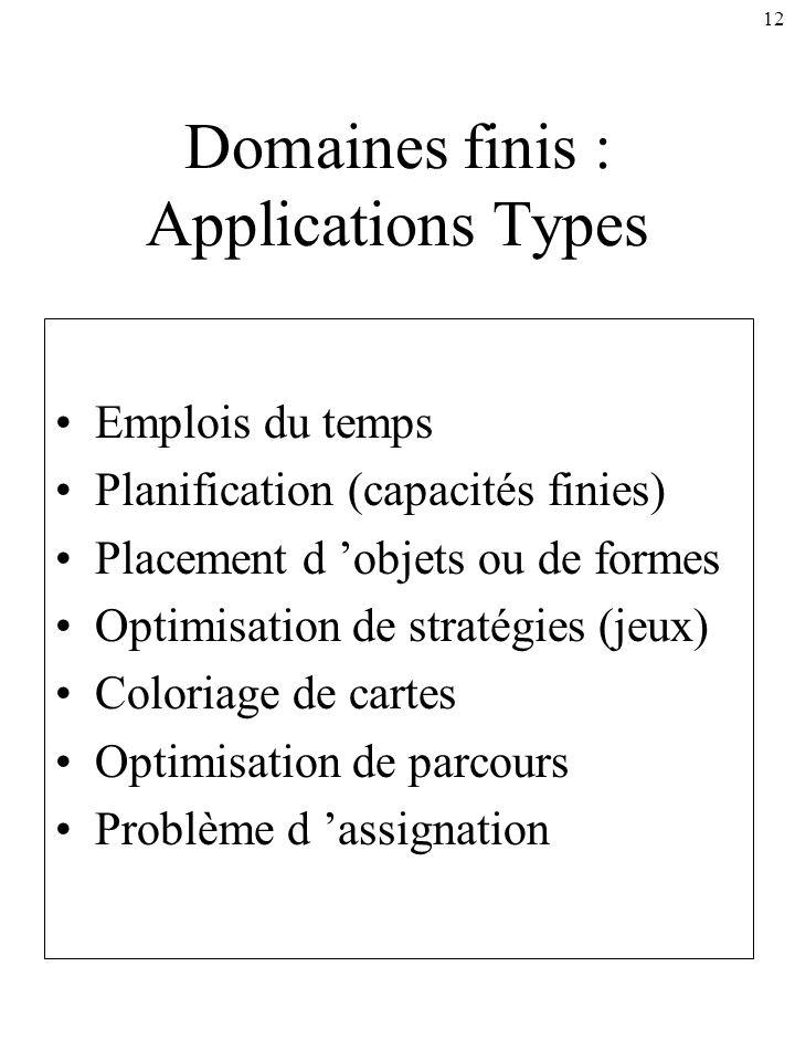 12 Domaines finis : Applications Types Emplois du temps Planification (capacités finies) Placement d objets ou de formes Optimisation de stratégies (j
