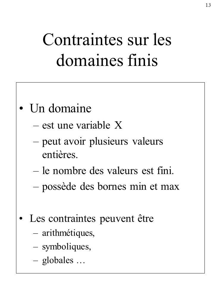13 Contraintes sur les domaines finis Un domaine –est une variable X –peut avoir plusieurs valeurs entières. –le nombre des valeurs est fini. –possède