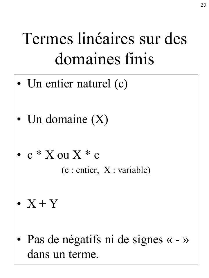 20 Termes linéaires sur des domaines finis Un entier naturel (c) Un domaine (X) c * X ou X * c (c : entier, X : variable) X + Y Pas de négatifs ni de
