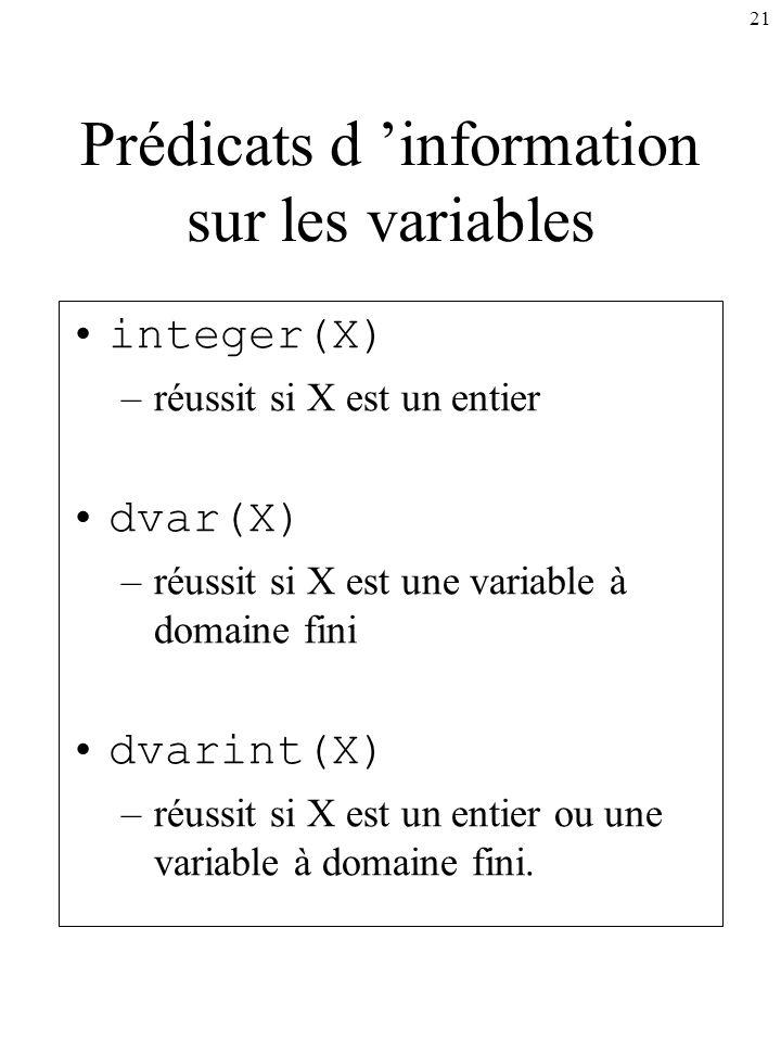 21 Prédicats d information sur les variables integer(X) –réussit si X est un entier dvar(X) –réussit si X est une variable à domaine fini dvarint(X) –