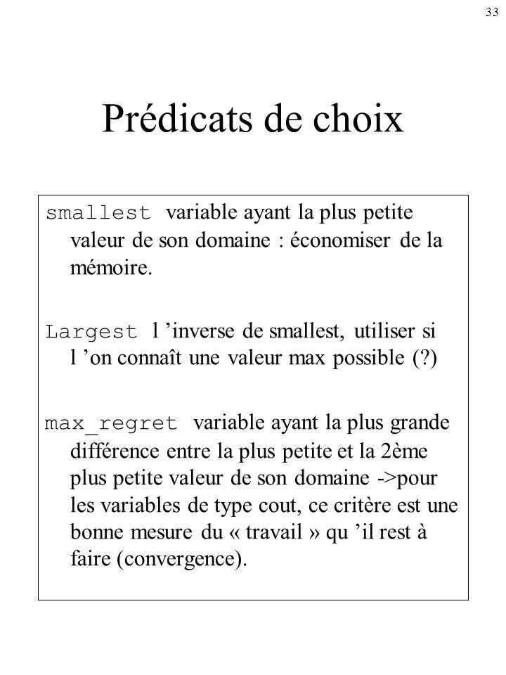 33 Prédicats de choix smallest variable ayant la plus petite valeur de son domaine : économiser de la mémoire. Largest l inverse de smallest, utiliser