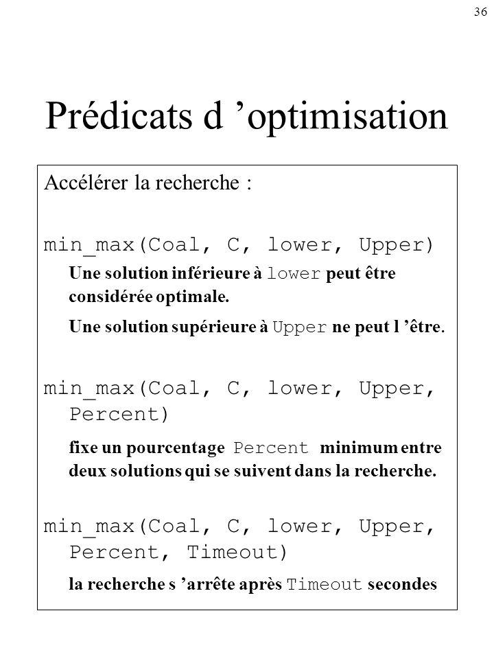 36 Prédicats d optimisation Accélérer la recherche : min_max(Coal, C, lower, Upper) Une solution inférieure à lower peut être considérée optimale. Une
