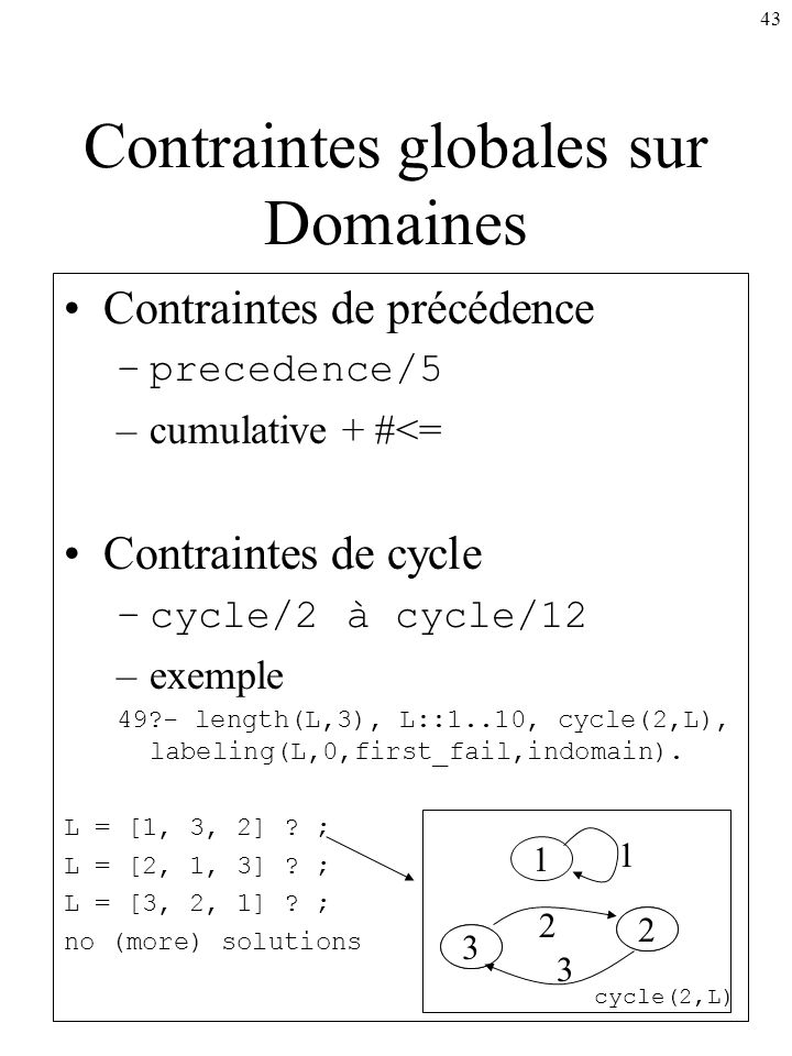 43 Contraintes de précédence –precedence/5 –cumulative + #<= Contraintes de cycle –cycle/2 à cycle/12 –exemple 49?- length(L,3), L::1..10, cycle(2,L),
