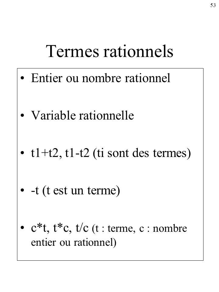 53 Termes rationnels Entier ou nombre rationnel Variable rationnelle t1+t2, t1-t2 (ti sont des termes) -t (t est un terme) c*t, t*c, t/c (t : terme, c