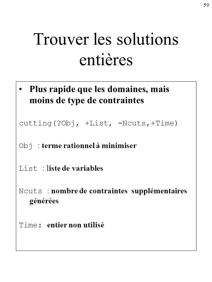 59 Trouver les solutions entières Plus rapide que les domaines, mais moins de type de contraintes cutting(?Obj, +List, -Ncuts,+Time) Obj : terme ratio