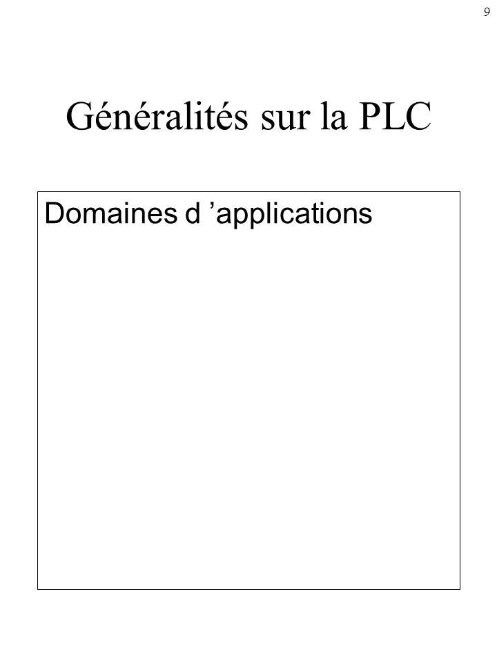 9 Généralités sur la PLC Domaines d applications