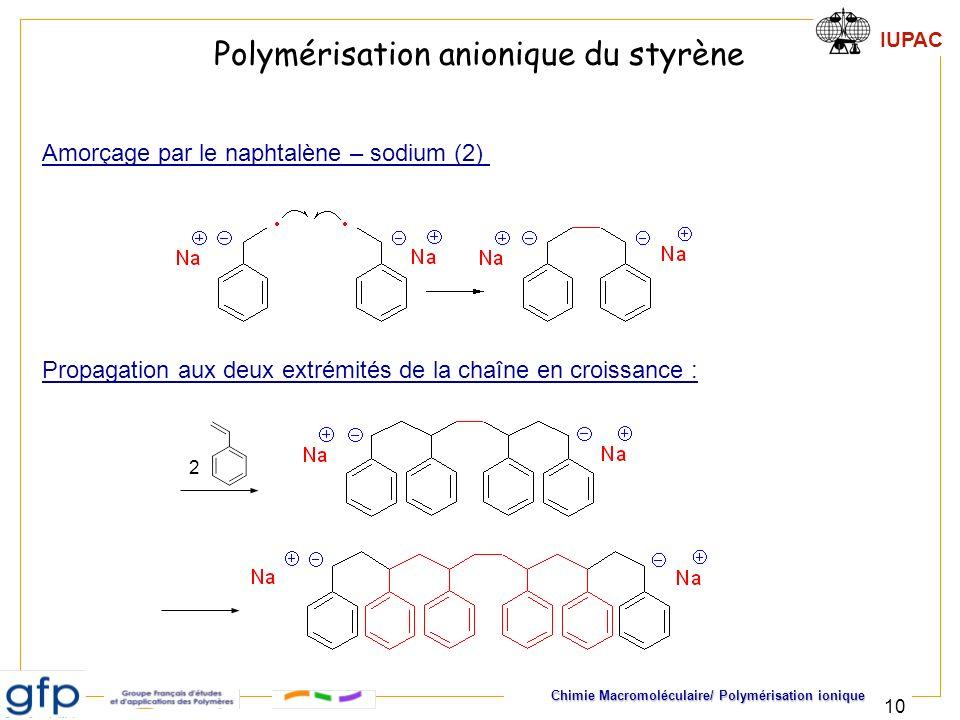IUPAC Chimie Macromoléculaire/ Polymérisation ionique 10 Polymérisation anionique du styrène Amorçage par le naphtalène – sodium (2) Propagation aux d