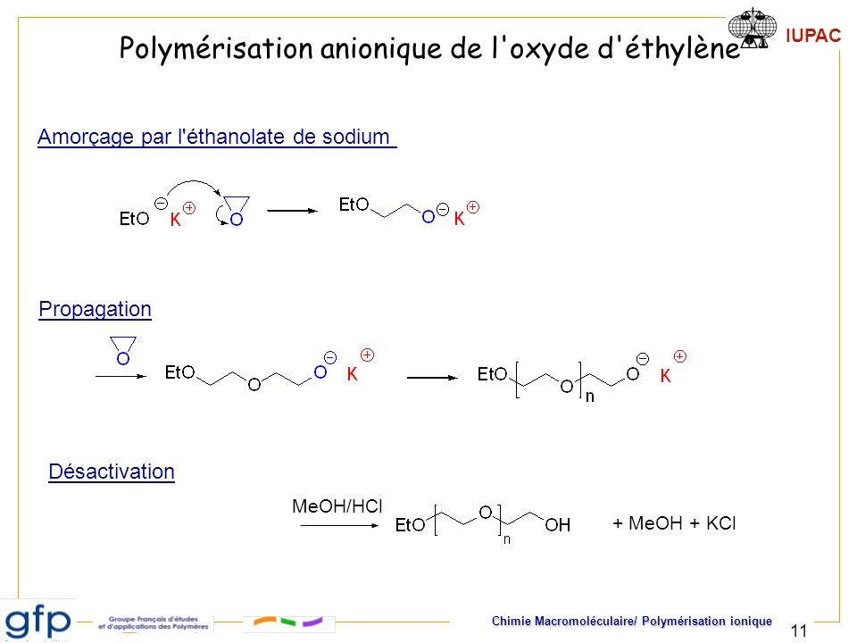 IUPAC Chimie Macromoléculaire/ Polymérisation ionique 11 MeOH/HCl Polymérisation anionique de l'oxyde d'éthylène Amorçage par l'éthanolate de sodium P