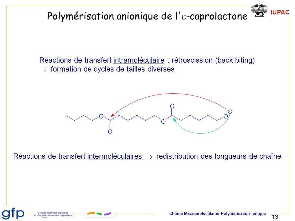 IUPAC Chimie Macromoléculaire/ Polymérisation ionique 13 Réactions de transfert intramoléculaire : rétroscission (back biting) formation de cycles de
