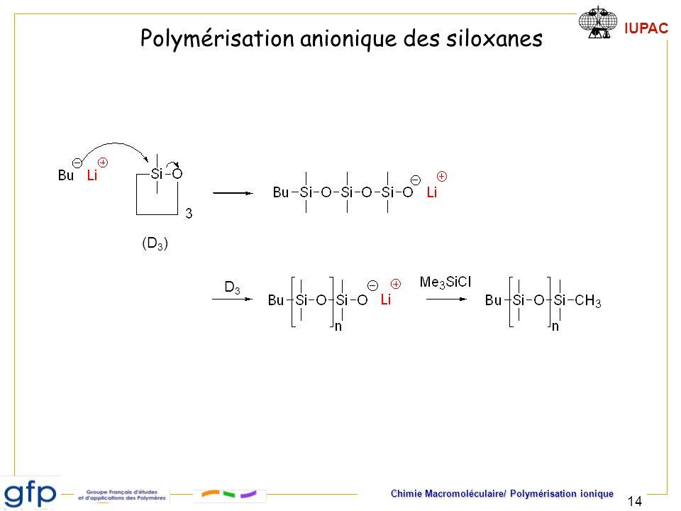IUPAC Chimie Macromoléculaire/ Polymérisation ionique 14 Polymérisation anionique des siloxanes (D 3 ) D3D3