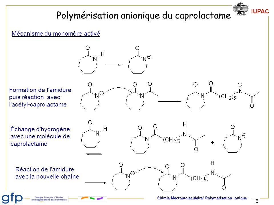 IUPAC Chimie Macromoléculaire/ Polymérisation ionique 15 Polymérisation anionique du caprolactame Mécanisme du monomère activé Formation de l'amidure