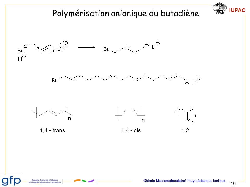 IUPAC Chimie Macromoléculaire/ Polymérisation ionique 16 Polymérisation anionique du butadiène 1,4 - trans1,4 - cis1,2 n n