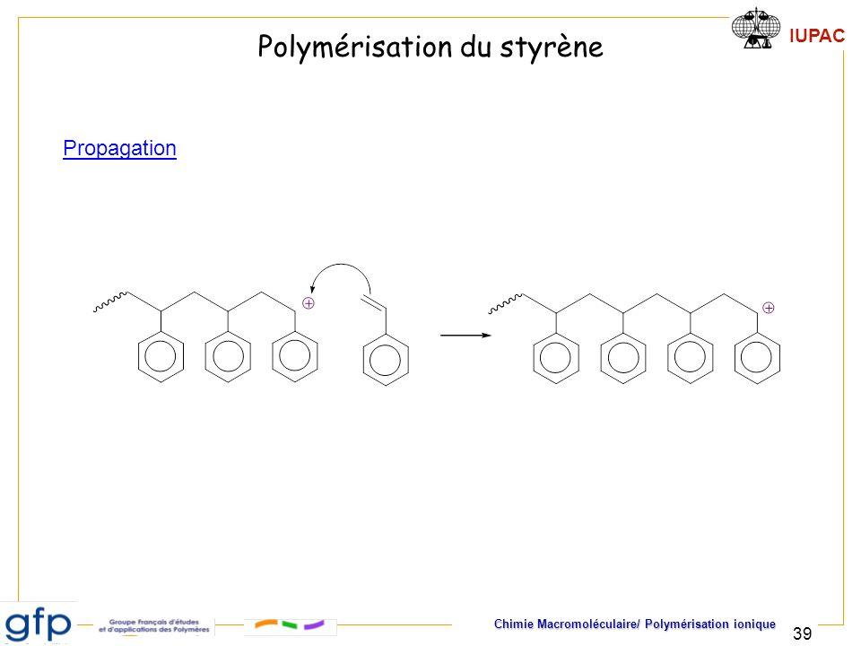 IUPAC Chimie Macromoléculaire/ Polymérisation ionique 39 Propagation Polymérisation du styrène