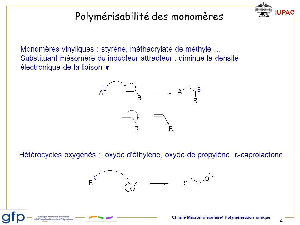 IUPAC Chimie Macromoléculaire/ Polymérisation ionique 5 Les polymérisations sont réalisées en solution Solvants dipolaires, aprotiques (THF, cyclohexane, DMSO..) Pas de groupes réactifs avec les anions Le milieu réactionnel doit être anhydre Polymérisation sous atmosphère inerte (azote, argon) Conditions de polymérisation