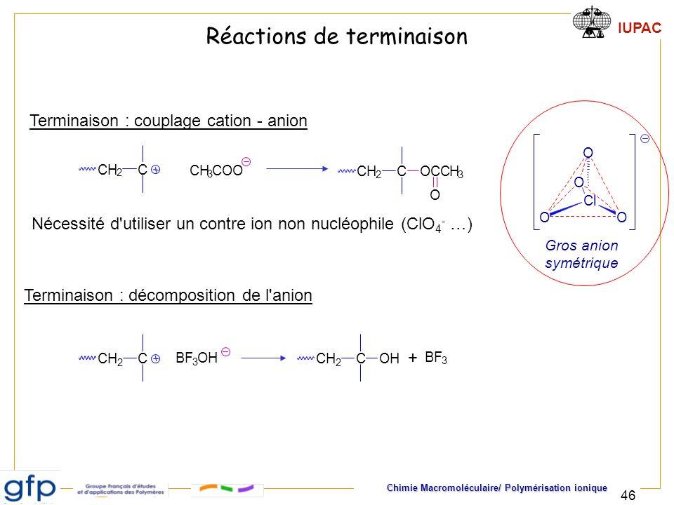 IUPAC Chimie Macromoléculaire/ Polymérisation ionique 46 Terminaison : couplage cation - anion Terminaison : décomposition de l'anion CH 2 C CH 3 COO