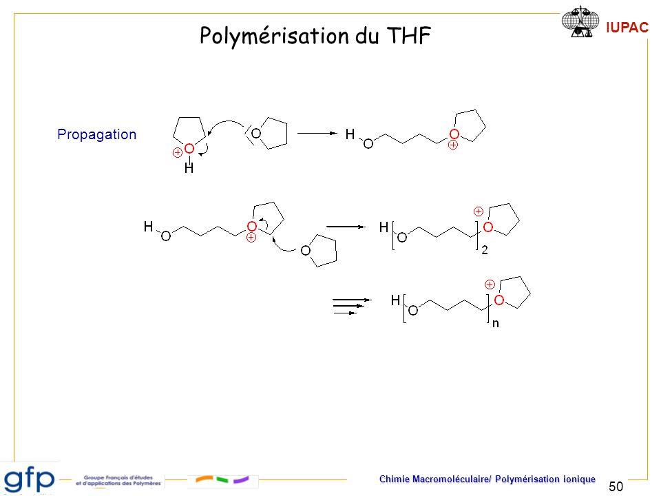 IUPAC Chimie Macromoléculaire/ Polymérisation ionique 50 Polymérisation du THF Propagation