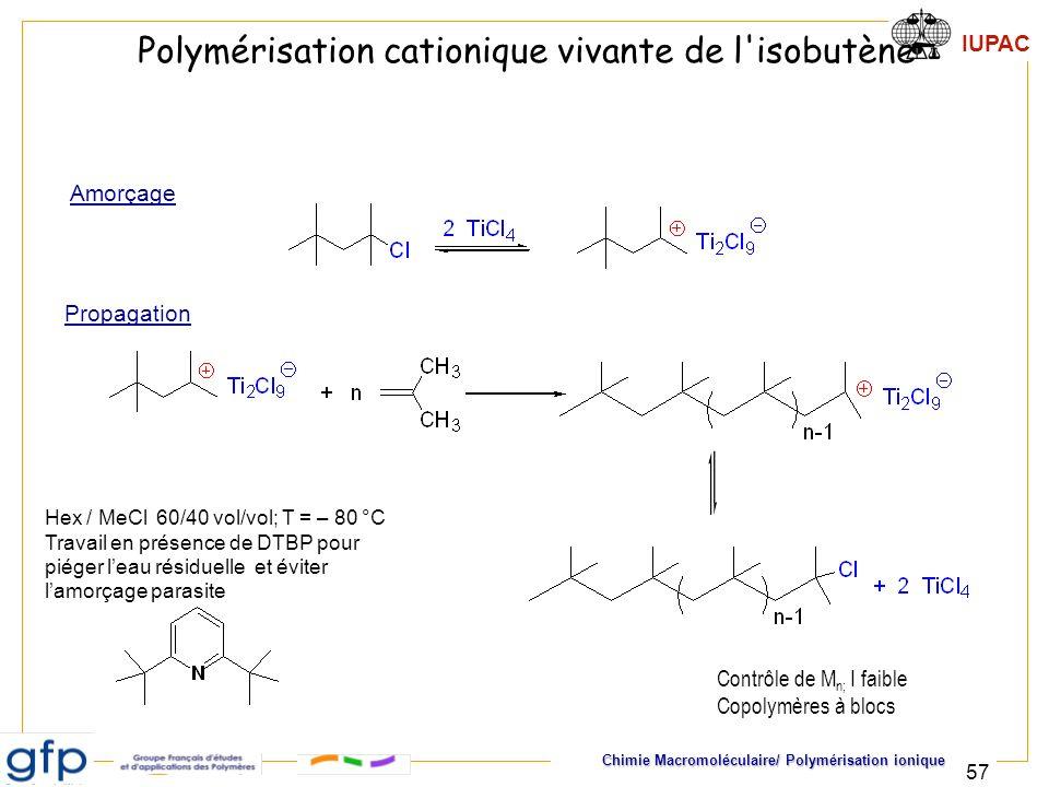 IUPAC Chimie Macromoléculaire/ Polymérisation ionique 57 Hex / MeCl 60/40 vol/vol; T = – 80 °C Travail en présence de DTBP pour piéger leau résiduelle