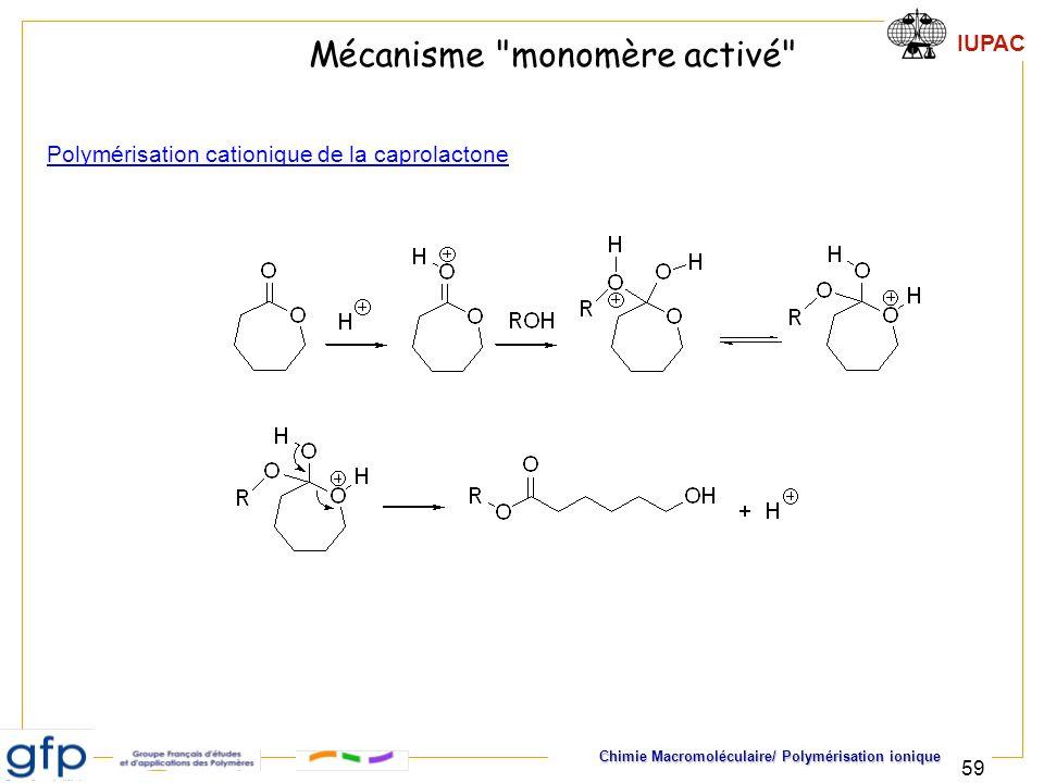 IUPAC Chimie Macromoléculaire/ Polymérisation ionique 59 Mécanisme