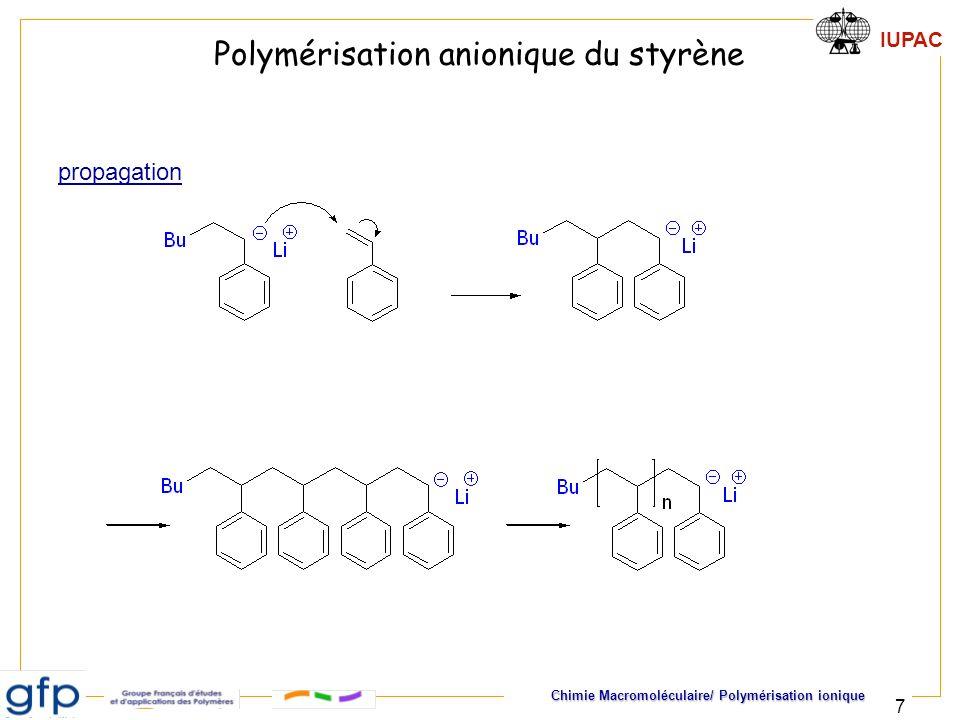 IUPAC Chimie Macromoléculaire/ Polymérisation ionique 18 Cinétique de polymérisation anionique jj+1 AM + M kpkp Amorçage Propagation Amorçage instantané : k a >> k p i ip ]M[]M[k dt ]M[d A + MAM 1 kaka [M(t)] = [M(0)].exp(-Kt) avec K = k p [M - ] = k p [A]