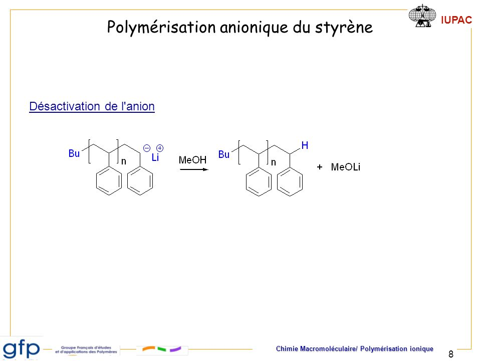 IUPAC Chimie Macromoléculaire/ Polymérisation ionique 29 Copolymères dibloc Monomère B Monomère A Amorceur Les échelles de réactivité imposent un ordre de séquençage C O C O pK a CH 3 CH 2 OH 15,9 -CH 2 -COOR 20 CH 3 -CH 3 50 OCH 2 CH R Non (Sauf cas particulier) O O OR A BAmorceur styrène butadiène s-BuLi isoprène2-vinyl pyridines-BuLi styrèneoxyde d éthylènePh 2 CHK styrène -caprolactone s-BuLi