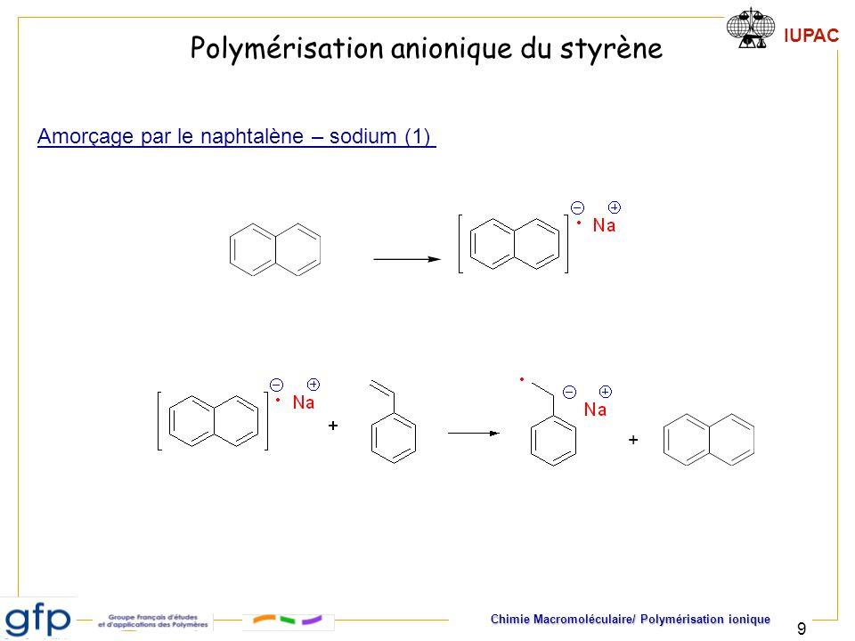 IUPAC Chimie Macromoléculaire/ Polymérisation ionique 10 Polymérisation anionique du styrène Amorçage par le naphtalène – sodium (2) Propagation aux deux extrémités de la chaîne en croissance : 2