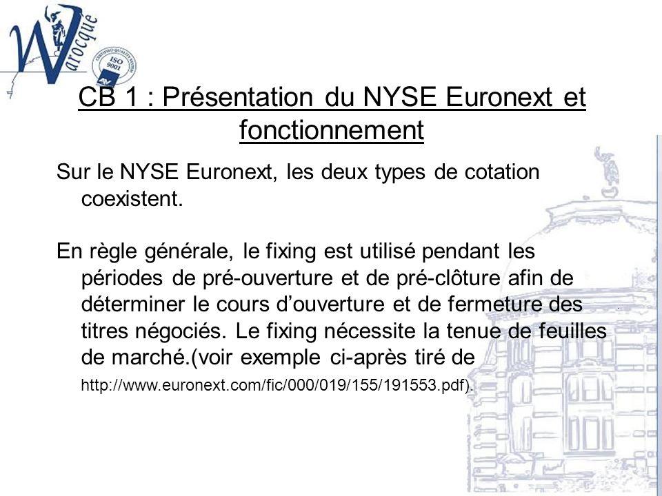CB 1 : Présentation du NYSE Euronext et fonctionnement Sur le NYSE Euronext, les deux types de cotation coexistent. En règle générale, le fixing est u