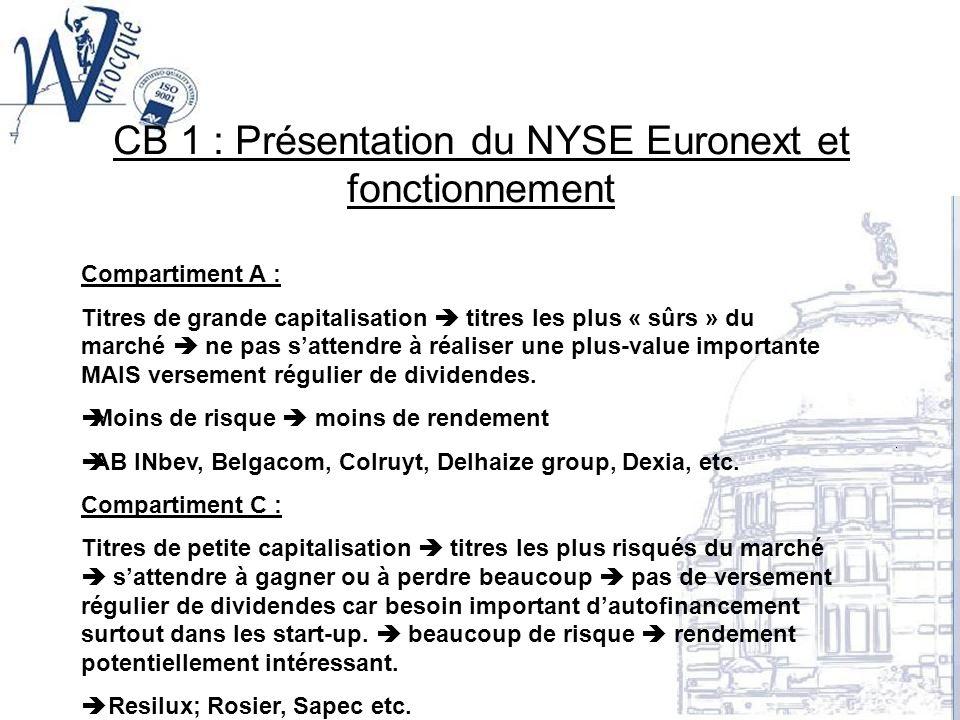 CB 1 : Présentation du NYSE Euronext et fonctionnement Compartiment A : Titres de grande capitalisation titres les plus « sûrs » du marché ne pas satt