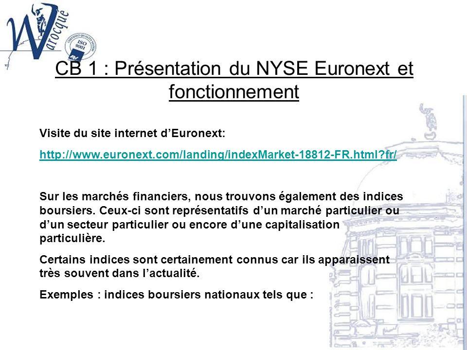 CB 1 : Présentation du NYSE Euronext et fonctionnement Visite du site internet dEuronext: http://www.euronext.com/landing/indexMarket-18812-FR.html?fr