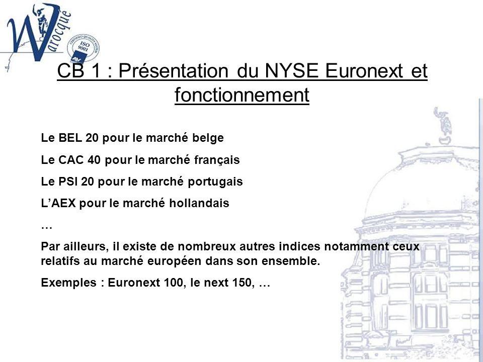 CB 1 : Présentation du NYSE Euronext et fonctionnement Le BEL 20 pour le marché belge Le CAC 40 pour le marché français Le PSI 20 pour le marché portu