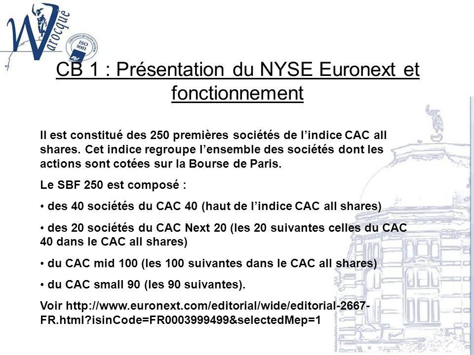 CB 1 : Présentation du NYSE Euronext et fonctionnement Il est constitué des 250 premières sociétés de lindice CAC all shares. Cet indice regroupe lens