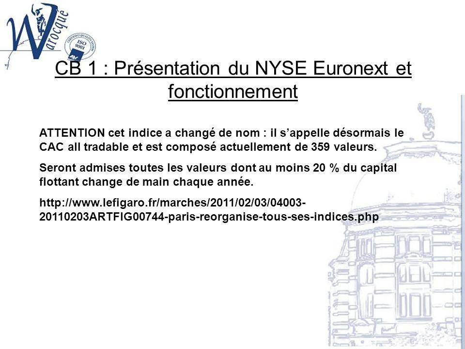 CB 1 : Présentation du NYSE Euronext et fonctionnement ATTENTION cet indice a changé de nom : il sappelle désormais le CAC all tradable et est composé