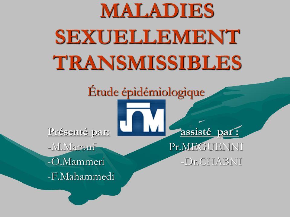 MALADIES SEXUELLEMENT TRANSMISSIBLES MALADIES SEXUELLEMENT TRANSMISSIBLES Étude épidémiologique Présenté par: assisté par : -M.Marouf Pr.MEGUENNI -O.M