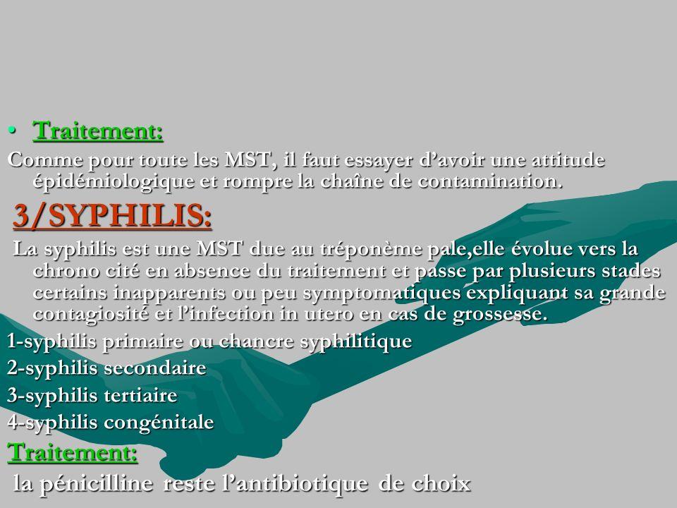 Traitement:Traitement: Comme pour toute les MST, il faut essayer davoir une attitude épidémiologique et rompre la chaîne de contamination. 3/SYPHILIS: