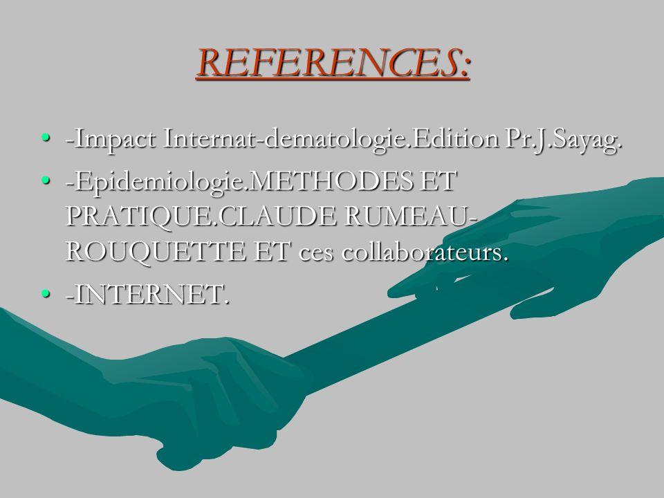 REFERENCES: -Impact Internat-dematologie.Edition Pr.J.Sayag.-Impact Internat-dematologie.Edition Pr.J.Sayag. -Epidemiologie.METHODES ET PRATIQUE.CLAUD