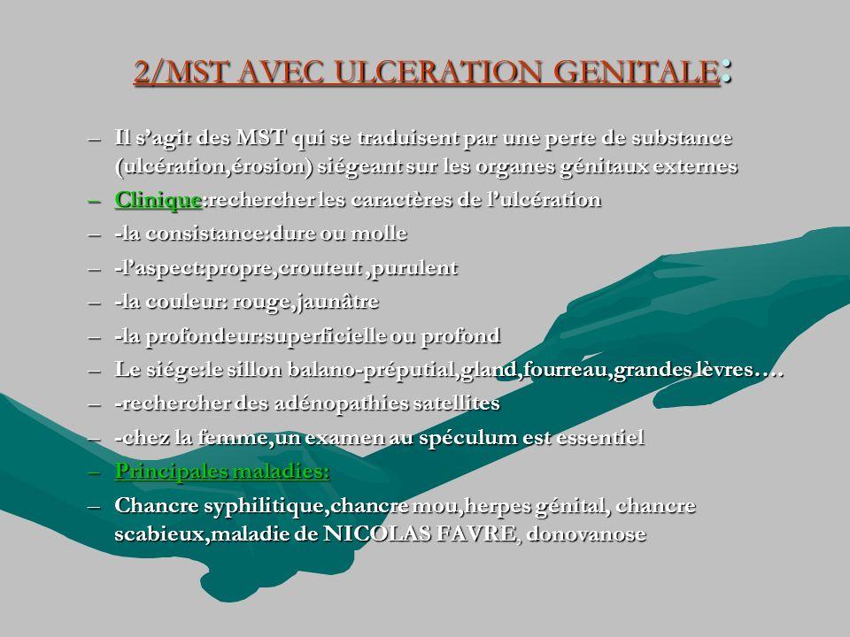2/MST AVEC ULCERATION GENITALE : –Il sagit des MST qui se traduisent par une perte de substance (ulcération,érosion) siégeant sur les organes génitaux