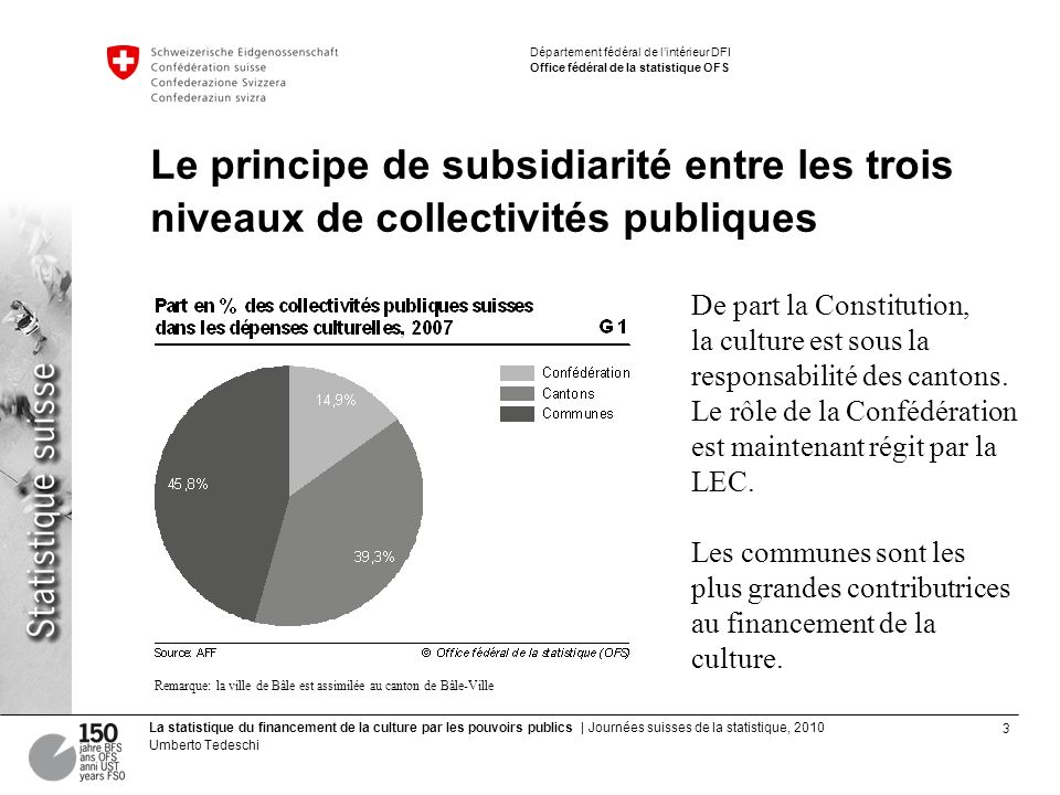 3 La statistique du financement de la culture par les pouvoirs publics | Journées suisses de la statistique, 2010 Umberto Tedeschi Département fédéral