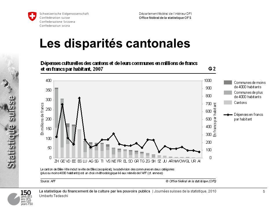 5 La statistique du financement de la culture par les pouvoirs publics | Journées suisses de la statistique, 2010 Umberto Tedeschi Département fédéral