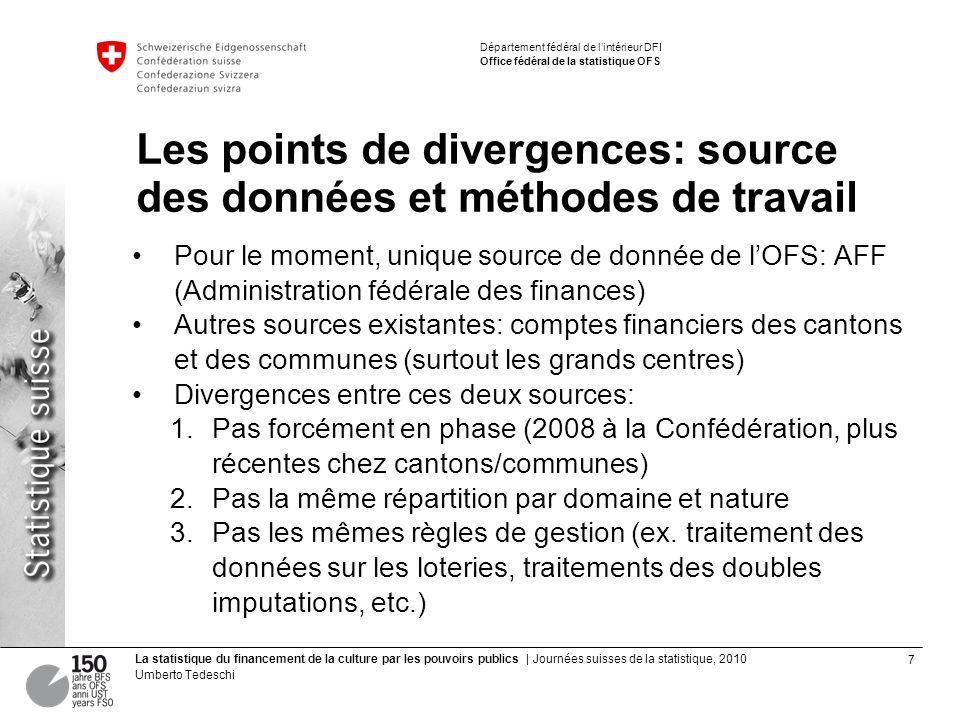 7 La statistique du financement de la culture par les pouvoirs publics | Journées suisses de la statistique, 2010 Umberto Tedeschi Département fédéral